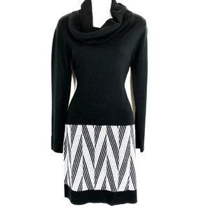 STUDIO ONE Black & White Sweater Knit Dress ~sz S